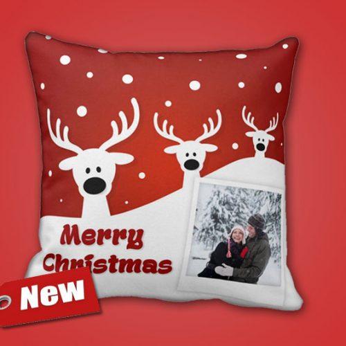 Χριστουγεννιάτικο μαξιλάρι με φωτογραφία.